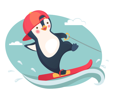 Penguin water skiing. Water sports and activities vector illustration