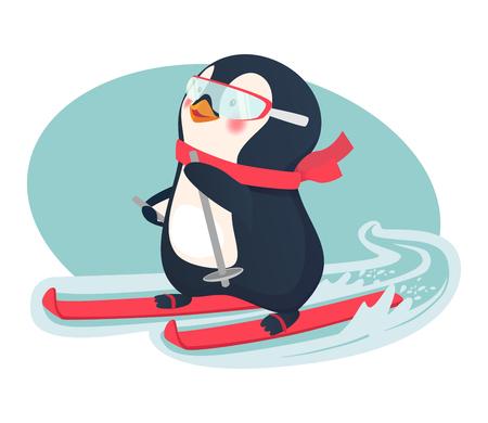 penguin on skis