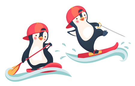 Penguin floating on SUP board. Penguin water skiing. Paddle board. Water sports and activities vector illustration