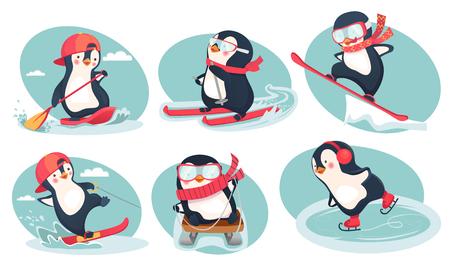 Activity in winter. Activity in summer icon. Penguin vector illustration set Illustration