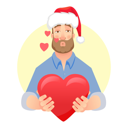 Businessman in Santa Claus hat. Man gives a gift. Air kiss. Man holding red present box
