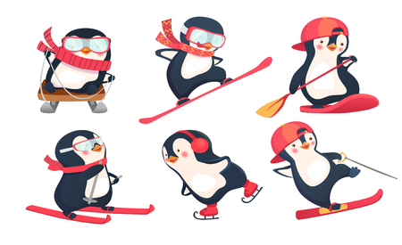 Active penguins in winter and summer vector illustration set