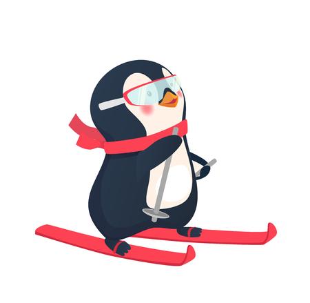 Penguin riding on skis on snow. Penguin cartoon vector illustration. Illustration