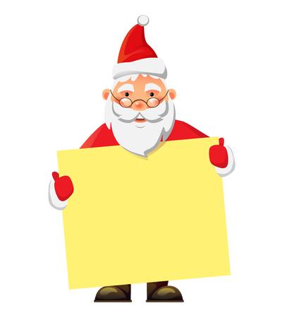 Santa Claus holding blank poster. Blank advertising banner. Santa Claus illustration.