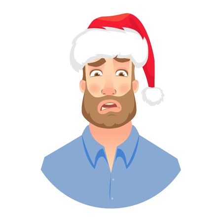 Businessman in Santa Claus hat. Face of man with beard. Men emotions