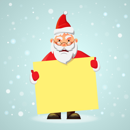Santa Claus with message board. Blank advertising banner. Merry Santa Claus vector illustration.