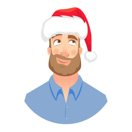 Businessman in Santa Claus hat. Dreaming man. Face of man with beard Illustration