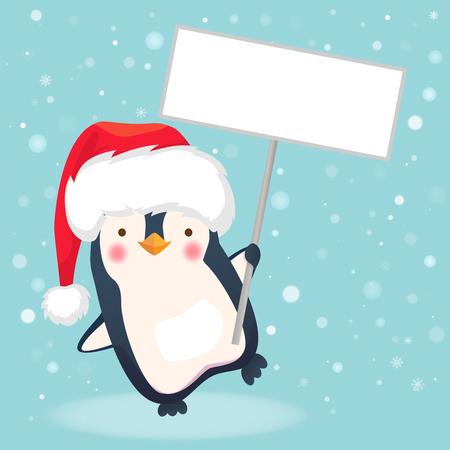 Penguin holding sign. Penguin cartoon vector illustration.