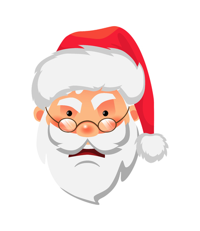 Santa Claus icon. Face of Santa Claus in red hat vector illustration