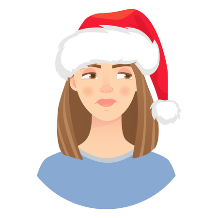 Christmas woman in santa claus hat. Emotions of woman face. Facial expression. Vector illustration of beautiful woman