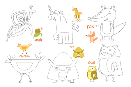 Kids coloring page. Coloring book with animal. Doodle vector illustration 일러스트