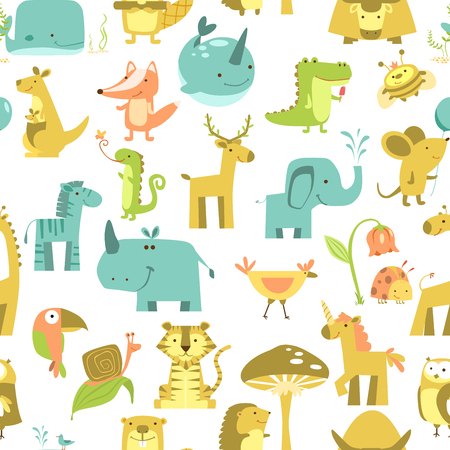 Seamless pattern with animals Cute animals vector. Zoo illustration set 矢量图像
