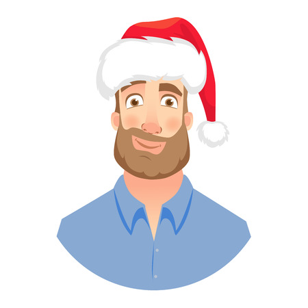 Businessman in Santa Claus hat. Smirking man. Face of man with beard