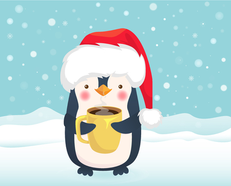 Penguin holding cup of coffee. Cute animal vector. Christmas illustration