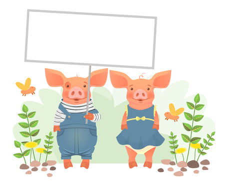 Cute animal holding sign. Cartoon pig holding blank banner. Cute animal illustration