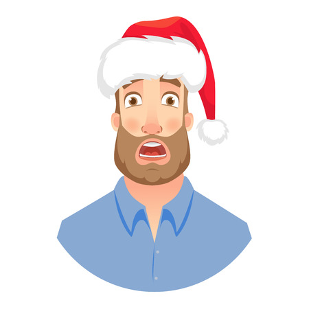 Businessman in Santa Claus hat. Frightened man. Face of man with beard