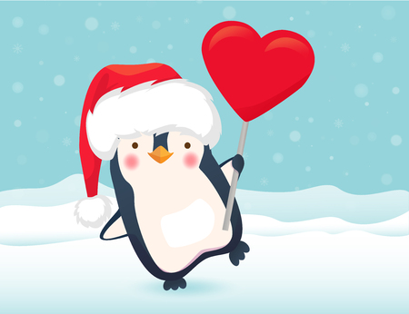 Penguin holding heart sign. Penguin cartoon illustration. Banque d'images - 107265591