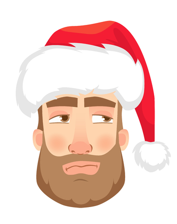 Head of a man in a Santa Claus hat. Man face expression. Human emotions. Set of cartoon vector illustrations. Mistrustful  イラスト・ベクター素材