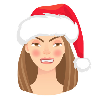 Christmas woman in santa claus hat. Emotions of woman face. Facial expression vector illustration
