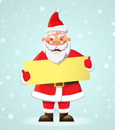 Santa Claus holding banner. Santa Claus vector illustration. Christmas holiday concept 일러스트