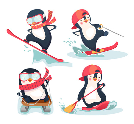 Activity in winter and summer. Penguin illustration set Stock Photo
