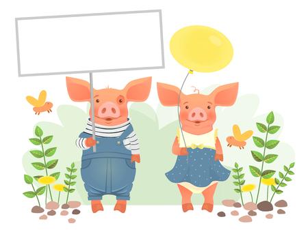Cute animal holding sign. Cartoon pig holding blank banner. Cute animal illustration