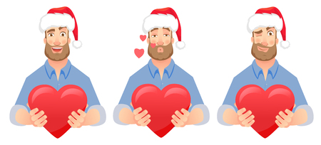 Man gives heart. Man holding red heart. Businessman in Santa Claus hat illustration set