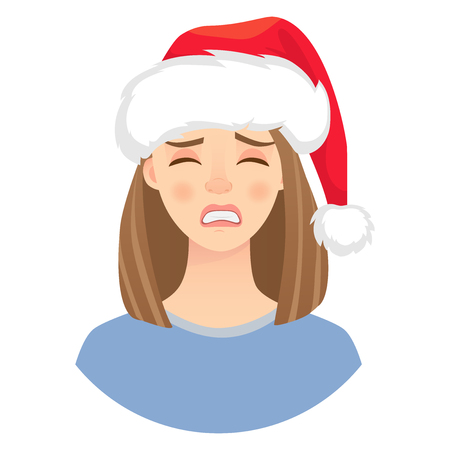 Christmas woman in santa claus hat. Emotions of woman face. Facial expression. Illustration of beautiful woman