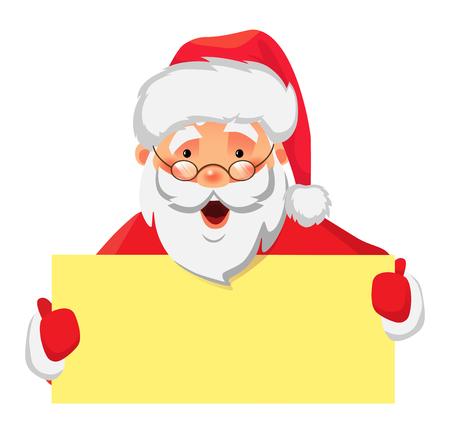 Santa Claus holding banner. Santa Claus holding blank sign vector illustration