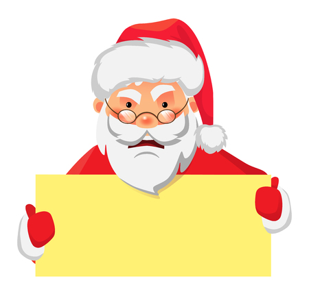 Santa Claus holding banner. Santa Claus holding blank sign vector illustration