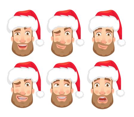Man in Santa Claus hat. Human emotions set. Face of man with beard vector illustration