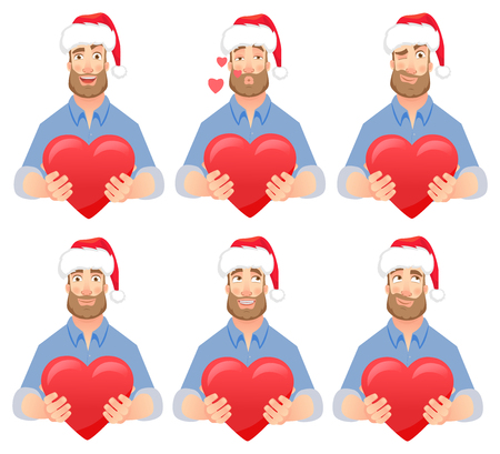 Man gives heart. Man holding red heart. Businessman in Santa Claus hat vector illustration set