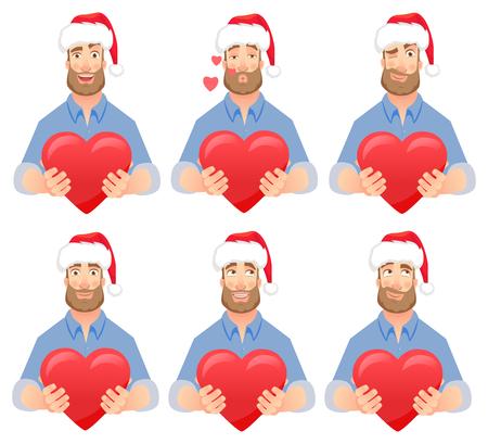 Man gives heart. Man holding red heart. Businessman in Santa Claus hat vector illustration set