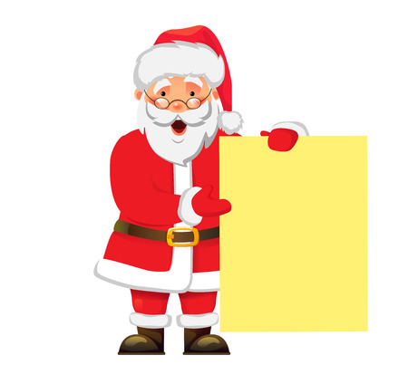 Santa Claus holding banner. Christmas Greeting Card vector illustration