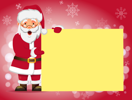 Santa Claus holding banner. Santa Claus with message board vector illustration