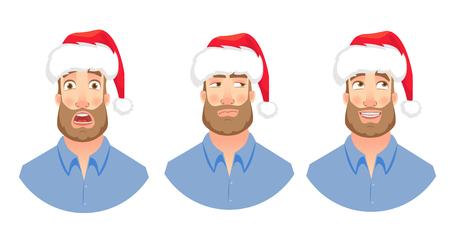 Businessman in Santa Claus hat. Man emotions set. Face of man with beard vector illustration