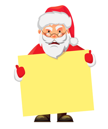 Santa Claus holding banner. Santa Claus holding blank sign illustration. Christmas Greeting Card