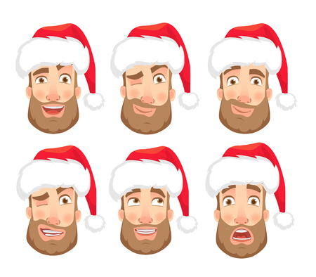 Man in Santa Claus hat. Human emotions set. Face of man with beard  illustration Stock Photo