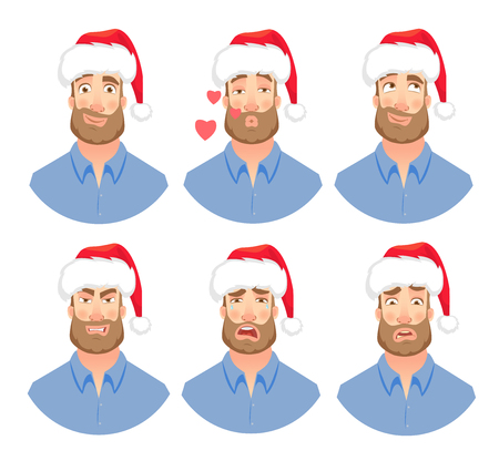 Businessman in Santa Claus hat. Man emotions set. Face of man with beard vector illustration Illustration