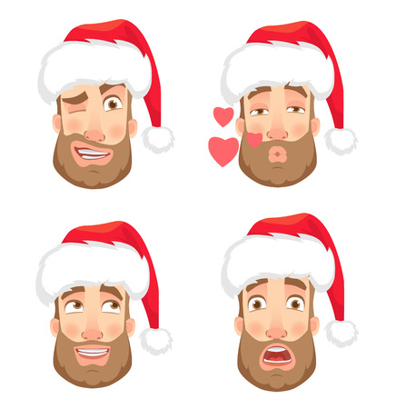 Man in Santa Claus hat. Human emotions set. Face of man with beard vector illustration