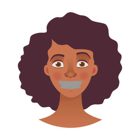 Portrait of young african american woman with mouth and lips sealed in adhesive tape. African woman with taped mouth vector illustration