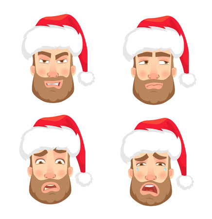 Man in Santa Claus hat. Human emotions set. Face of man with beard  illustration 스톡 콘텐츠