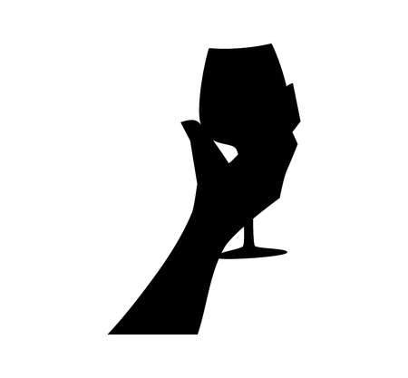 Hand with a glass. Drinking wine. Silhouette vector illustration