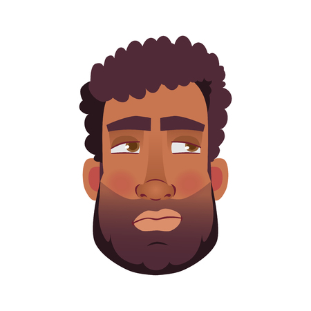 African american man icon. Face of African man vector illustrations.