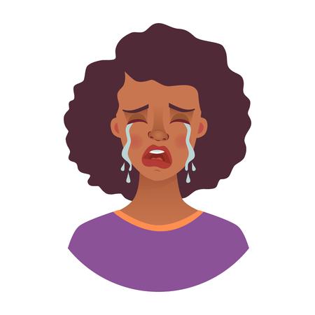 Retrato de mujer africana. Emociones del rostro de la mujer afroamericana. Expresión facial. Ilustración de vector de niña africana