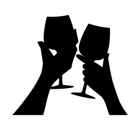 Manos con gafas. Hombre y mujer haciendo sonar las copas de vino con champán. Ilustración de vector de silueta