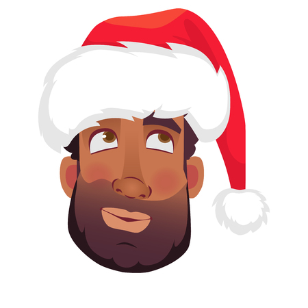 Head of African man in a Santa Claus hat. African american man face expression. Human emotions icon. Set of cartoon vector illustrations. Illustration