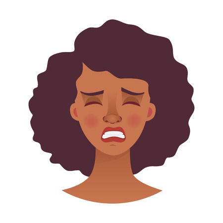 Face of African woman. Emotions of african american woman face. Facial expression vector illustration