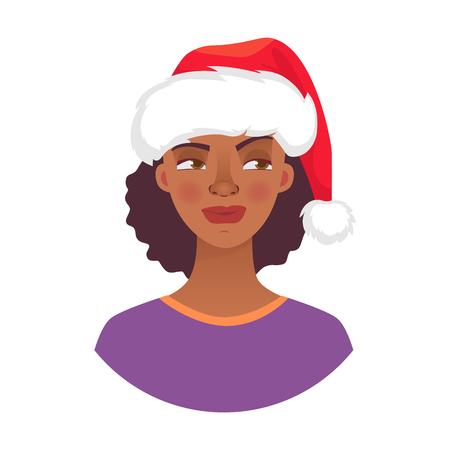 Femme de Noël en chapeau de père Noël. Émotions du visage de femme afro-américaine. Expression faciale. Illustration vectorielle de fille africaine