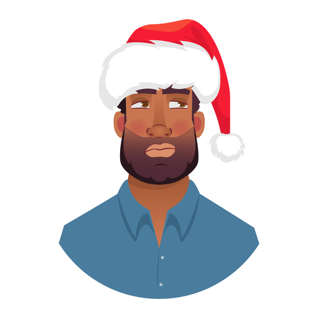 African man in a Santa Claus hat. Portrait of African american man. African american man face expression. Human emotions icon. Set of cartoon vector illustrations.